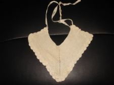 ANTIQUE LACY CROCHET FINE COTTON COLLAR WITH TIES V SHAPE GENUINE